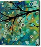Abstract Art Original Landscape Painting Colorful Circles Morning Blues II By Madart Acrylic Print