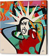 Abstract Artwork Of A Angry Man Holding His Head Acrylic Print