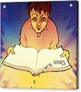 Abstract Artwork Of A Dyslexic Boy Reading A Book Acrylic Print by David Gifford