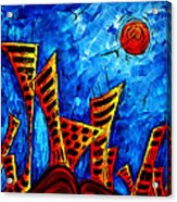 Abstract Cityscape Art Original City Painting The Lost City II By Madart Acrylic Print