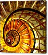 Abstract Golden Nautilus Spiral Staircase Acrylic Print