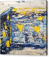 Abstract Kotel Prayer At The Western Wall Waiting For Peace In Blue Yellow Silver Jerusalem Israel  Acrylic Print