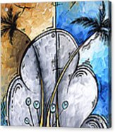 Abstract Martini Tropical Contemporary Original Painting Martini On The Beach By Madart Acrylic Print
