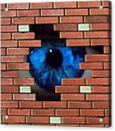 Abstract Of Eye Looking Through Hole In Brick Wall Acrylic Print