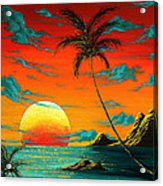 Abstract Surreal Tropical Coastal Art Original Painting Tropical Burn By Madart Acrylic Print
