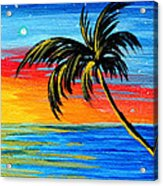 Abstract Tropical Palm Tree Painting Tropical Goodbye By Madart Acrylic Print