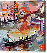 Abstract Venice Italy Gondolas Acrylic Print by Ginette Callaway
