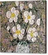Abstract Wild Roses Heavy Impasto Acrylic Print