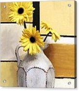 Abstract Yellow Daisies Acrylic Print