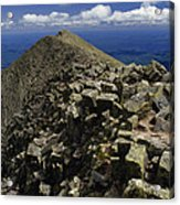 Abutting The Clouds, Hikers Rest Atop Acrylic Print