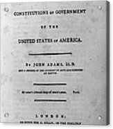 Adams: Title Page, 1787 Acrylic Print by Granger