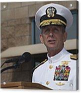 Admiral Eric Olson Speaks Acrylic Print by Michael Wood