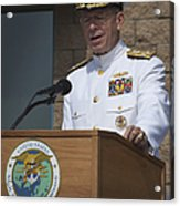 Admiral Mike Mullen Speaks Acrylic Print by Michael Wood
