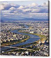 Aerial Japanese Cityscape And River Acrylic Print by Jeremy Woodhouse