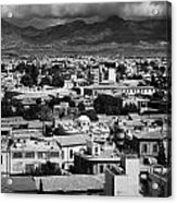 Aerial View From Southern Nicosia Over Northern Turkish Controlled Nicosia In Nicosia Lefkosia Acrylic Print