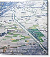 Aerial View Of Flooded Farmland Acrylic Print by Jeremy Woodhouse