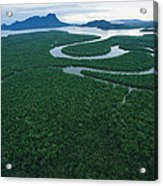 Aerial View Of The Salak River. Mount Acrylic Print