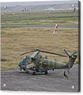 Afghan Army Soldiers Guard An Mi-35 Acrylic Print