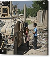 Afghan Children Ask U.s. Soldiers Acrylic Print