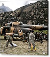 Afghan National Army Soldiers Unload Acrylic Print