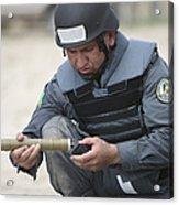 Afghan Police Student Prepares Acrylic Print