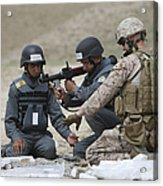 Afghan Police Students Assemble A Rpg-7 Acrylic Print by Terry Moore