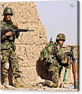 Afghan Soldiers Conduct A Dismounted Acrylic Print by Stocktrek Images