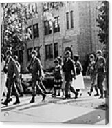 African-american Students Leaving Acrylic Print by Everett