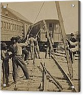 African American Work Crew In Northern Acrylic Print by Everett