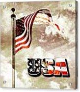 Aged Usa Flag On Pole Acrylic Print
