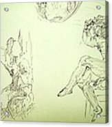 Agony And Atlas Sketch Of Him Throwing The World Onto Her As He Transforms Life Burden To Freedom Acrylic Print
