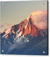Aiguille Verte With Leeward Clouds Acrylic Print