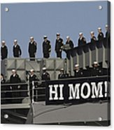 Ailors And Marines Man The Rails Aboard Acrylic Print by Stocktrek Images