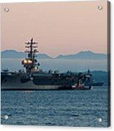 Aircraft Carrier At Sunset - Uss Ronald Reagan Acrylic Print