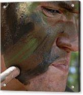Airman Applies War Paint To His Face Acrylic Print