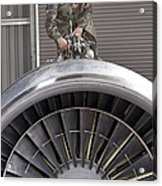 Airman Checks Components Atop A C-5 Acrylic Print