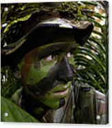 Airman Conceals Himself By Blending Acrylic Print by Stocktrek Images