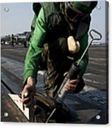 Airman Greases The Catapult Shuttle Acrylic Print