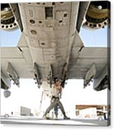 Airman Performs An Inspection Acrylic Print