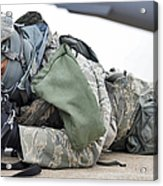 Airman Provides Security At Whiteman Acrylic Print by Stocktrek Images