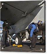 Airmen Chain Down An Fa-18e Super Acrylic Print