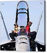 Airmen Perform A Weapons Release Check Acrylic Print