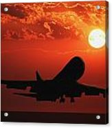 Airplane Landing At Sunset Acrylic Print