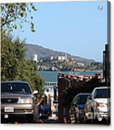 Alcatraz Island Through The Hyde Street Pier In San Francisco California . 7d13973 Acrylic Print by Wingsdomain Art and Photography