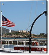 Alcatraz Island Through The Hyde Street Pier In San Francisco California . 7d14163 Acrylic Print
