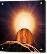 Alien Planet And Asteroid, Artwork Acrylic Print by Detlev Van Ravenswaay