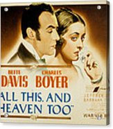 All This And Heaven Too, Charles Boyer Acrylic Print