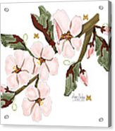 Almond Branch With Flowers And Leaves Acrylic Print
