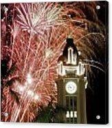 Aloha Tower Fireworks Acrylic Print