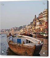 Alone On The Ganges Acrylic Print by Jen Bodendorfer